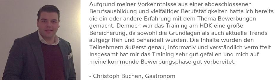 Testimonial Bewerbungstraining Christoph Buchen