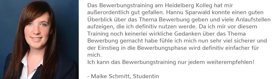 Testimonial Bewerbungstraining Maike Schmitt